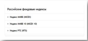 Фондовые индексы РФ